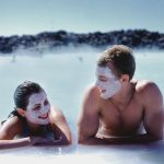 Couple with face mask at Blue lagoon