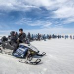 Snowmobiles on Langjökull glacier